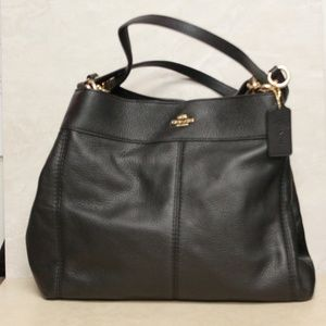 Coach F57545 Black Leather Lexy Shoulder Bag